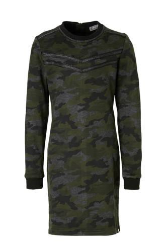 sweatjurk met camouflageprint donkergroen