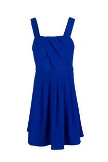 Morgan jurk met plooidetails blauw (dames)