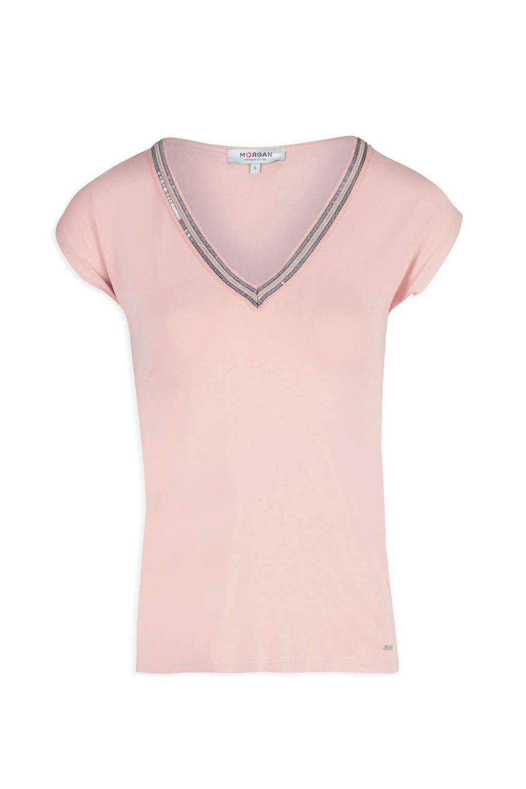 Morgan T-shirt met glitterdetail oudroze, Oudroze