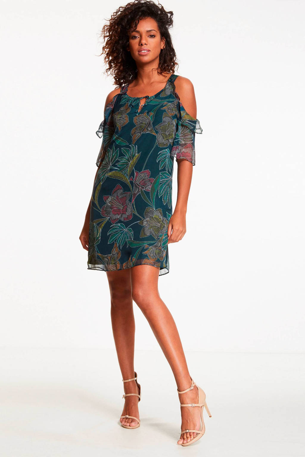 Morgan open shoulder jurk met bloemen groen, Groen
