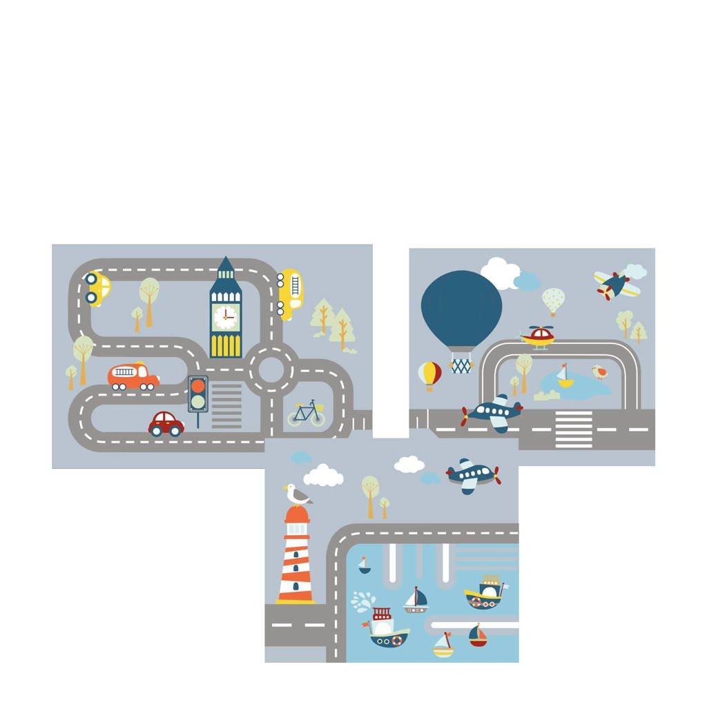 Flexa Bedgordijn Transportation, Grijs/ licht blauw