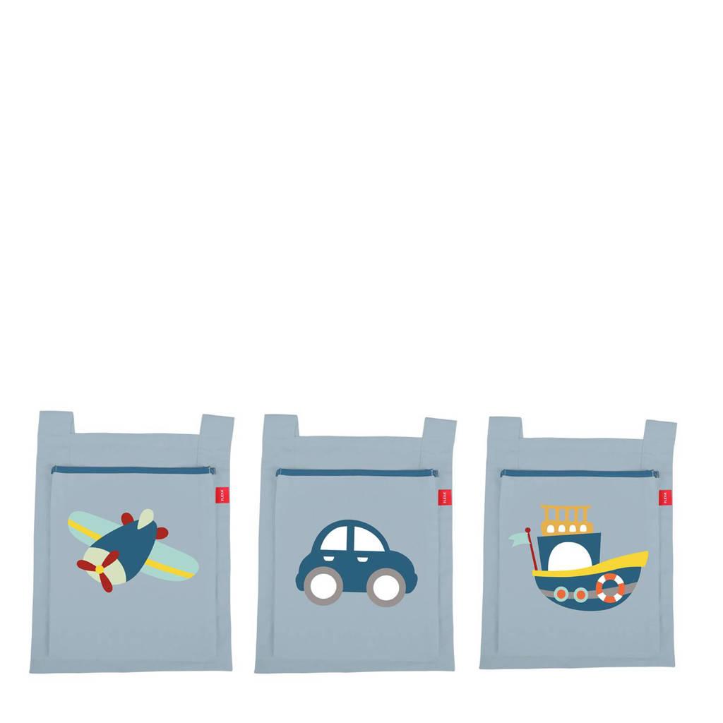 Flexa Opbergtassen Transportation, Grijs/ licht blauw