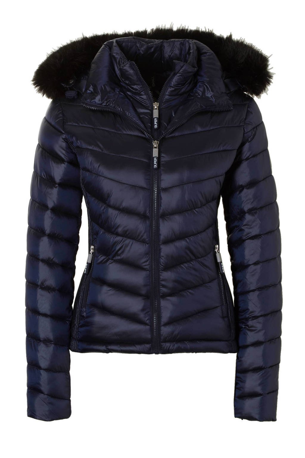 Superdry Hooded Luxe Chevron Fuji jas, Navy