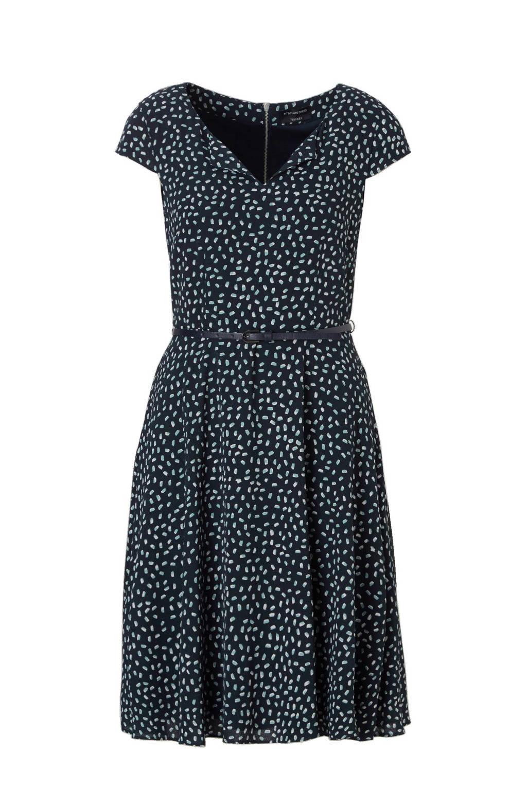 C&A Yessica A-lijn jurk met all-over print zwart, Donkerblauw