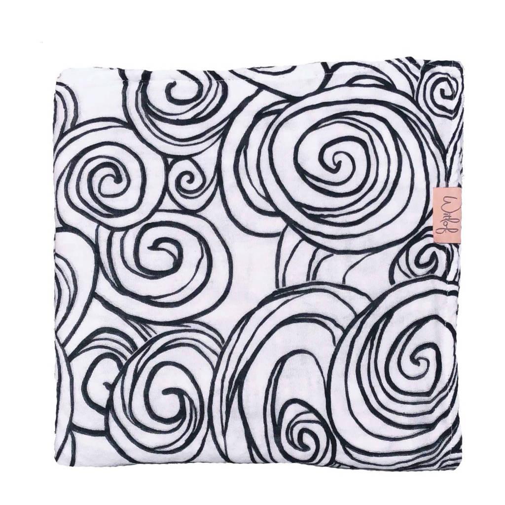 Witlof for kids Moon hydrofiele doek 120x120 cm zwart/wit, Zwart/wit