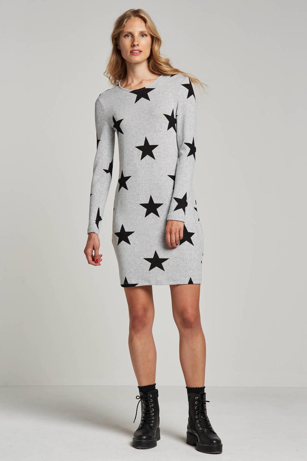 VERO MODA jurk met sterren print, Grijs/zwart
