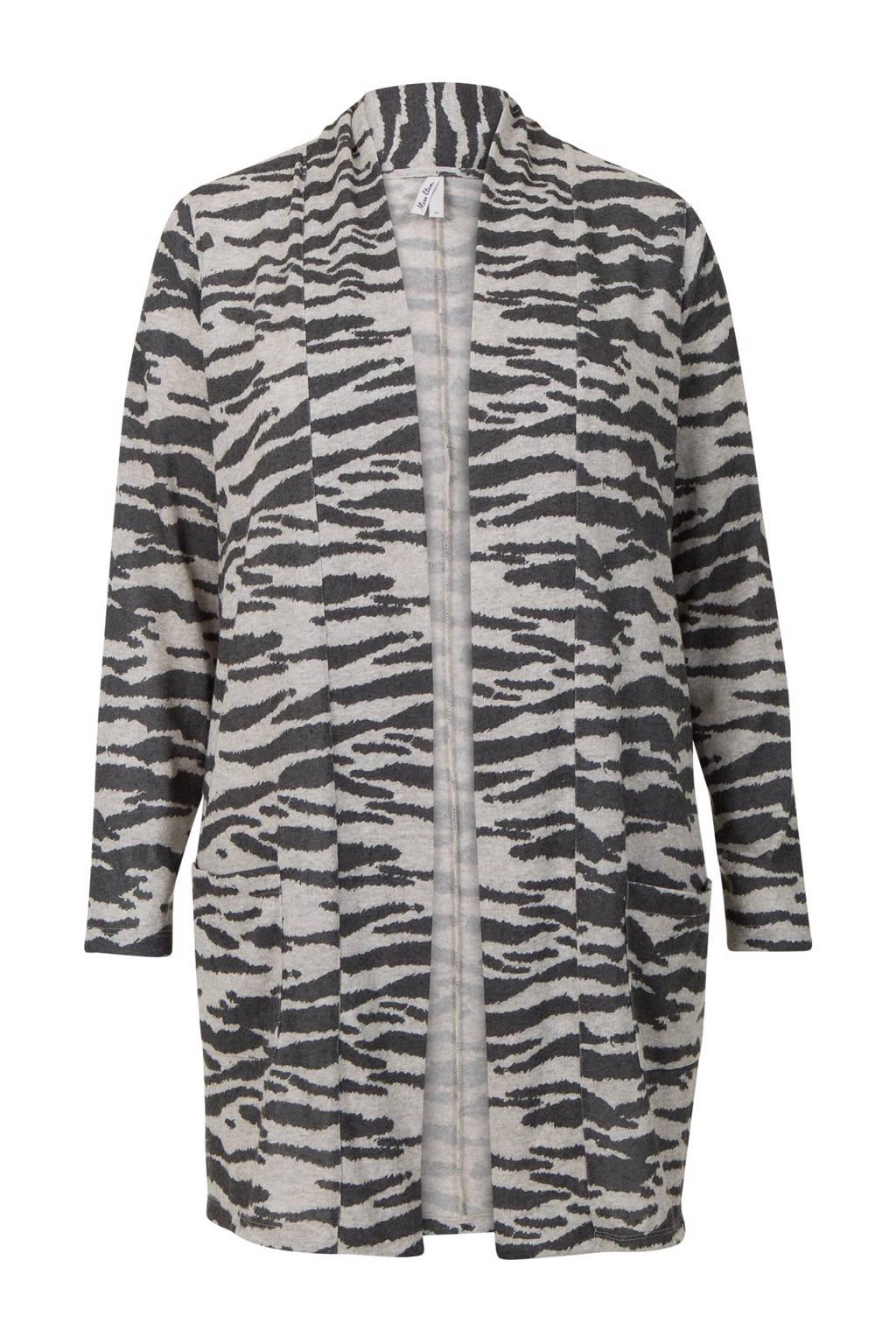 Miss Etam Plus vest met zebraprint, Zwart/wit