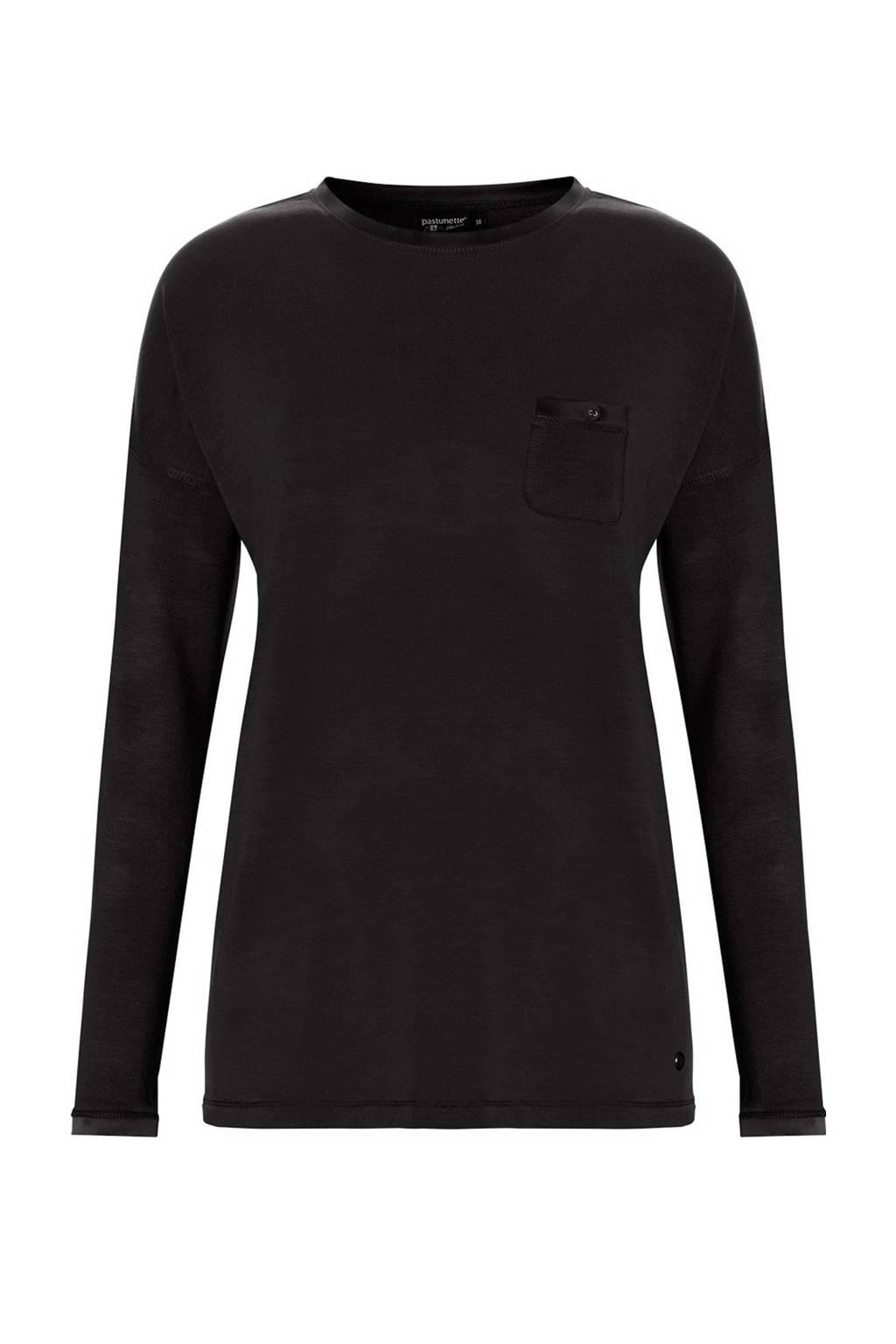 Pastunette Deluxe pyjamatop met viscose zwart, Zwart