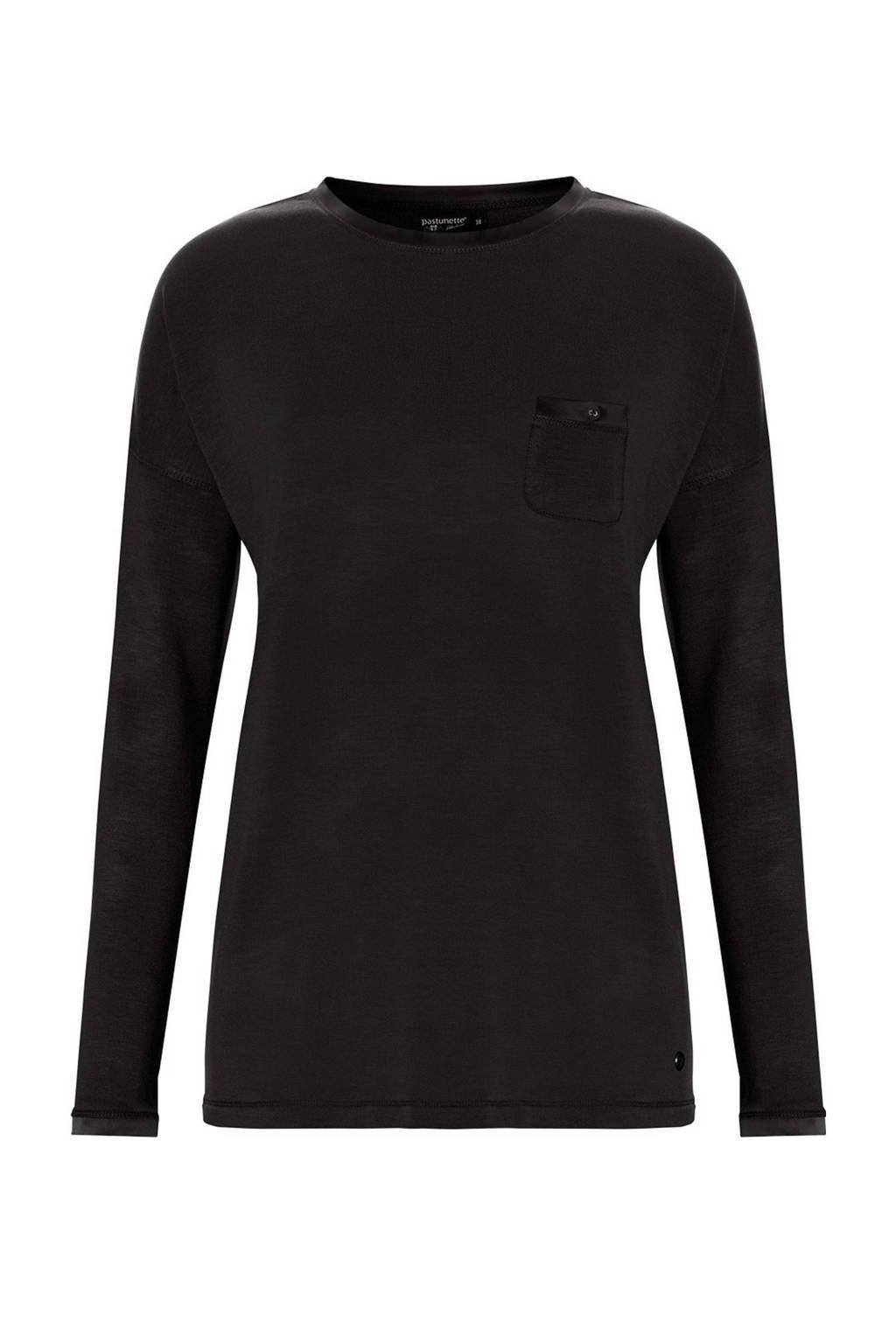 Pastunette Deluxe pyjamatop zwart, Zwart