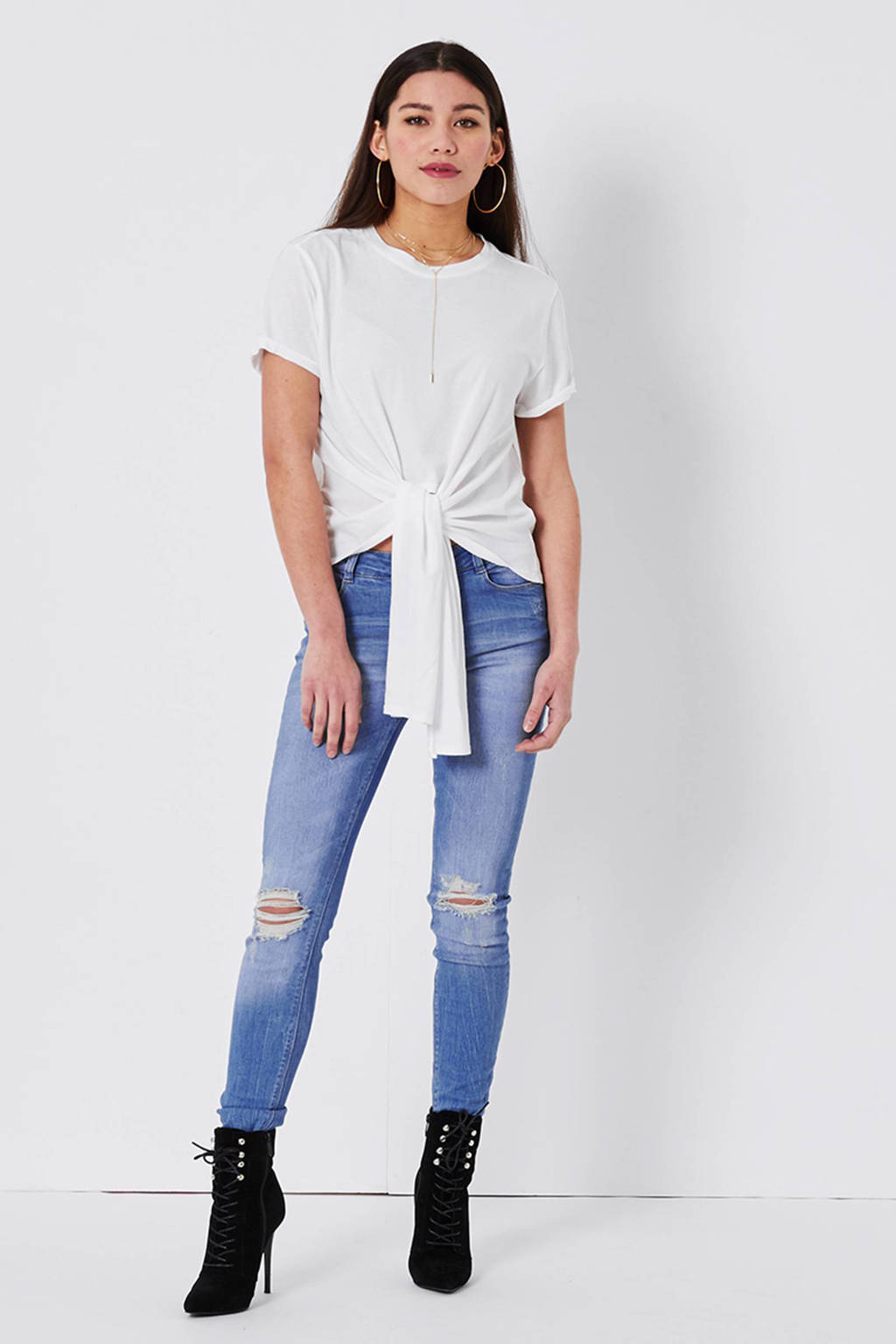 CoolCat loose fit T-shirt met knoopdetail, Wit