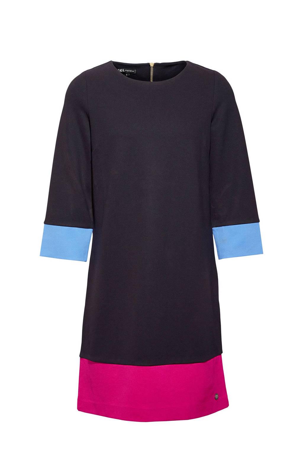 Didi jurk met contrasterende panden, Marineblauw