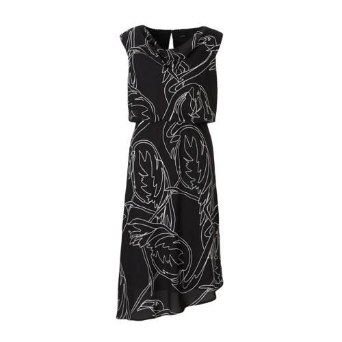 jurk met all-over print zwart