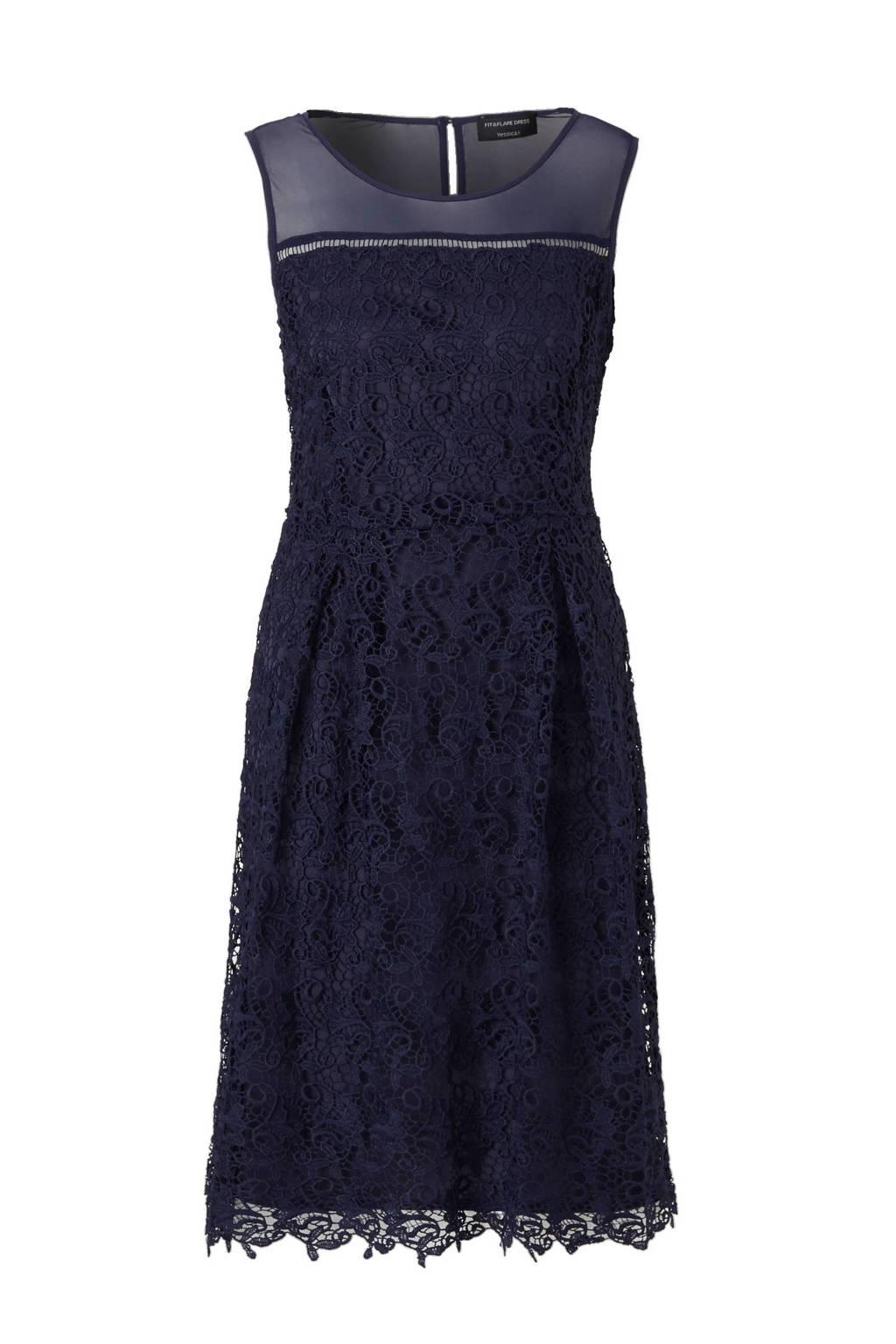 Uitzonderlijk C&A Yessica kanten jurk donkerblauw | wehkamp #IK74