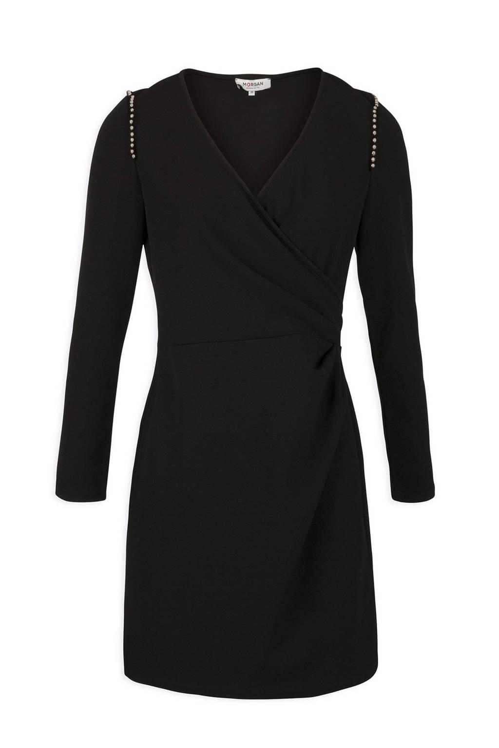 Morgan jurk met kralen zwart, Zwart