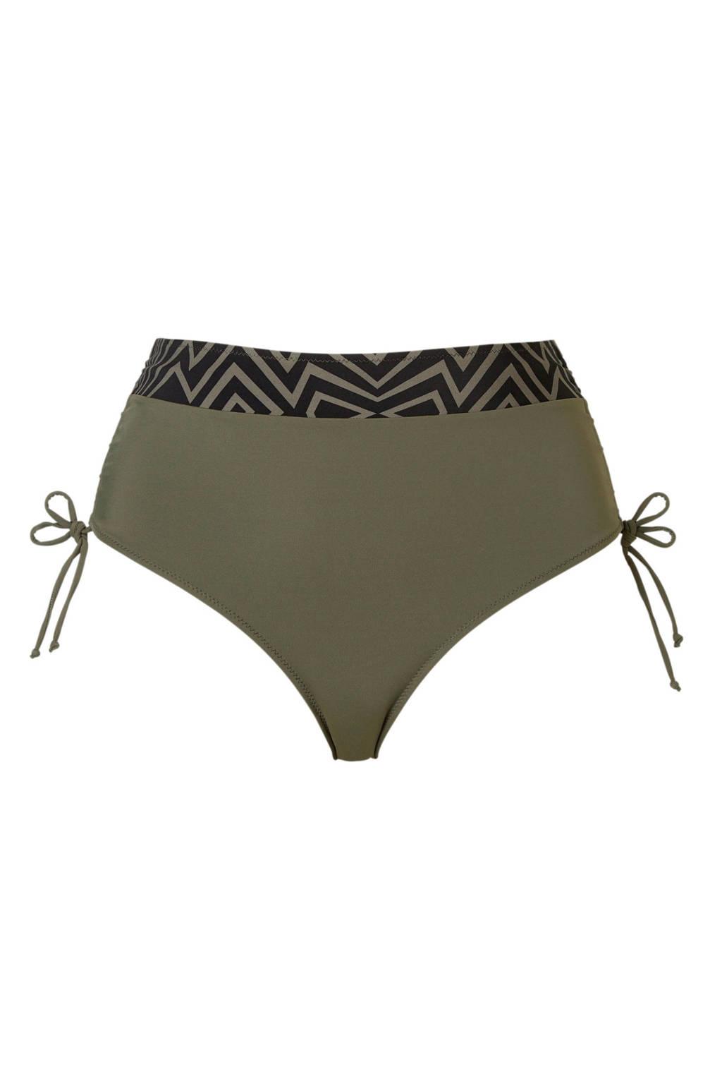 Zizzi bikinibroekje +size met printopdruk groen, Groen/zwart
