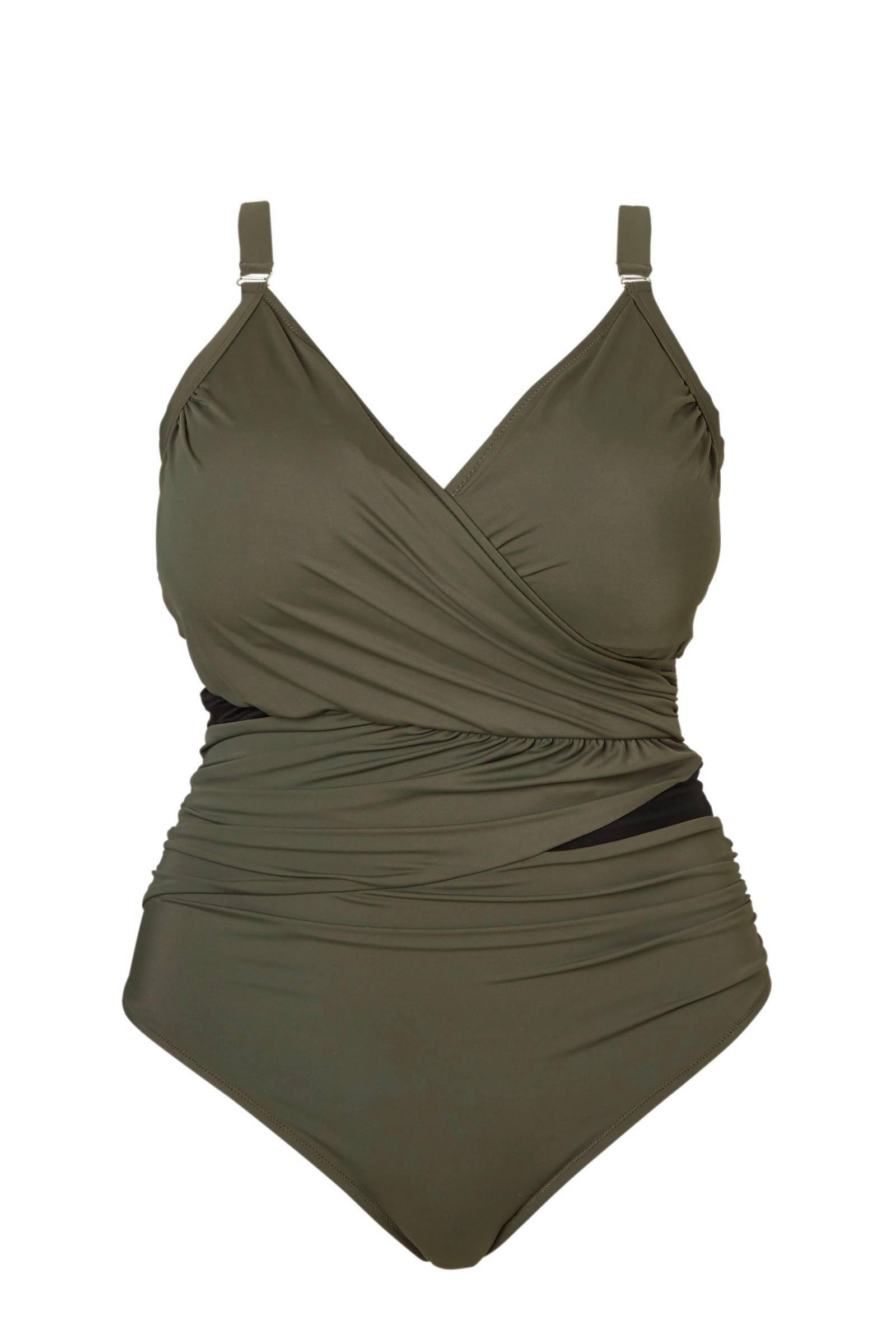 Zizzi corrigerende badpak +size met plooidetails groen (dames)