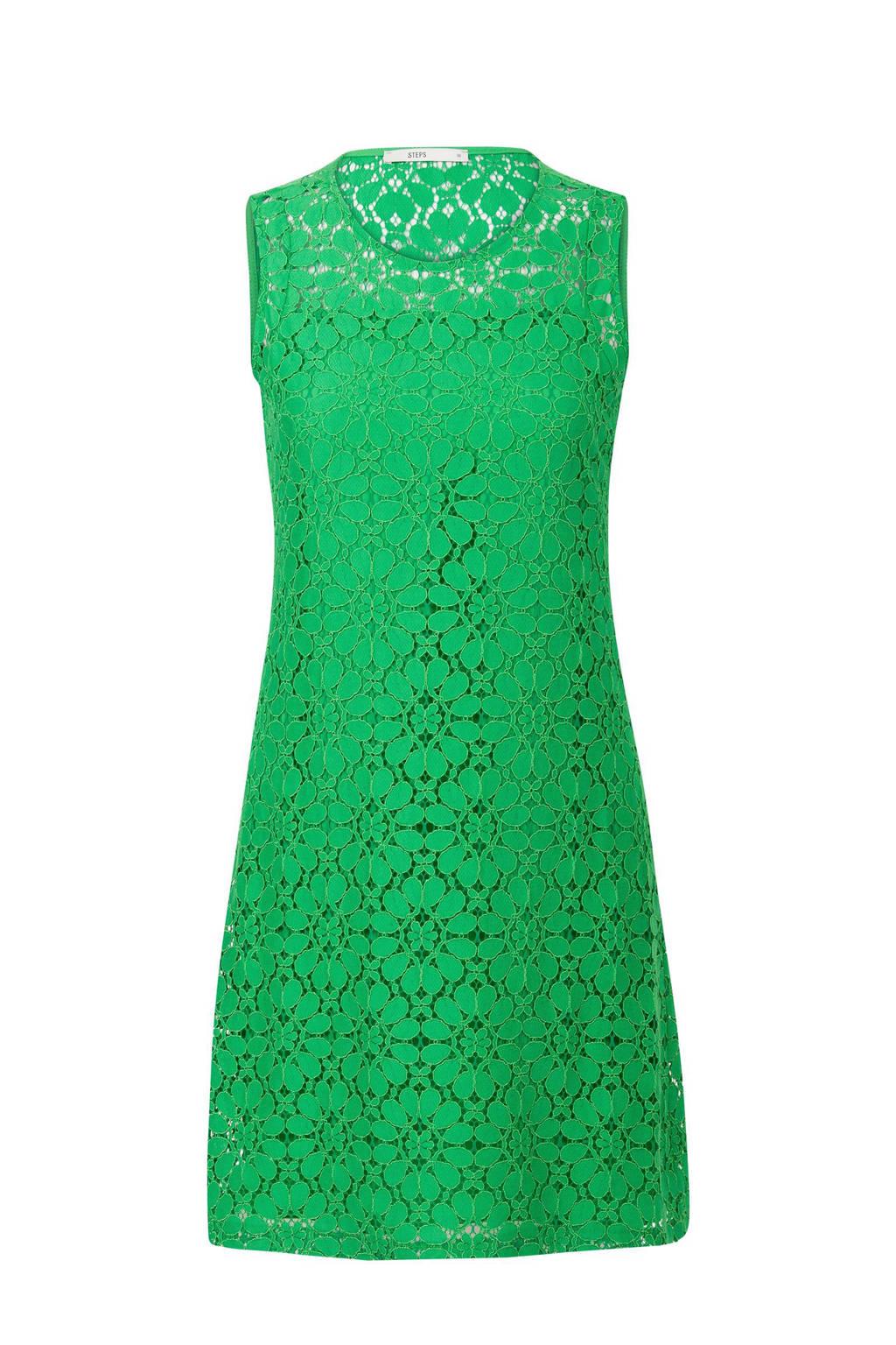 Steps kanten jurk groen, Groen