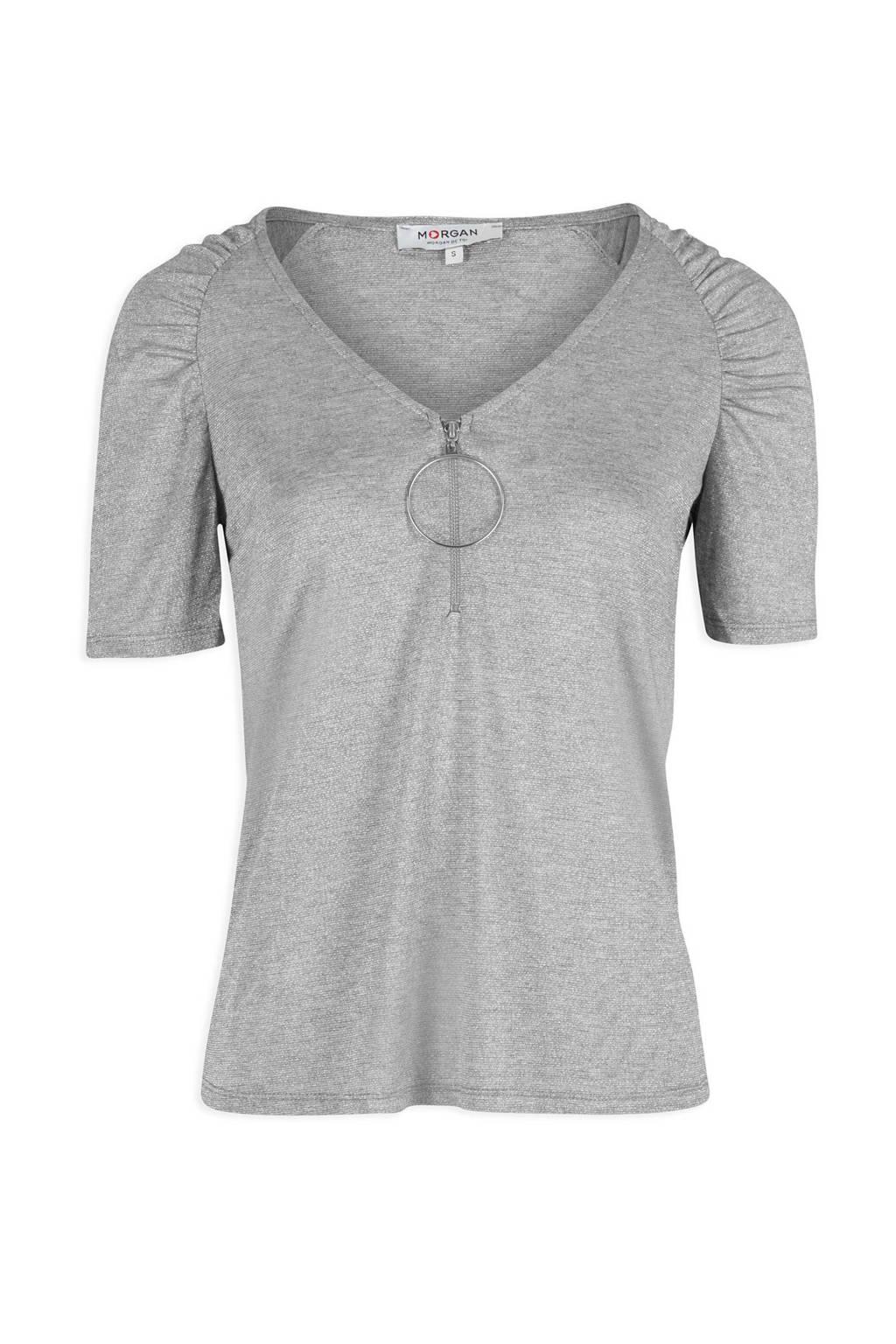 Morgan glitter T-shirt met rits grijs, Zilver
