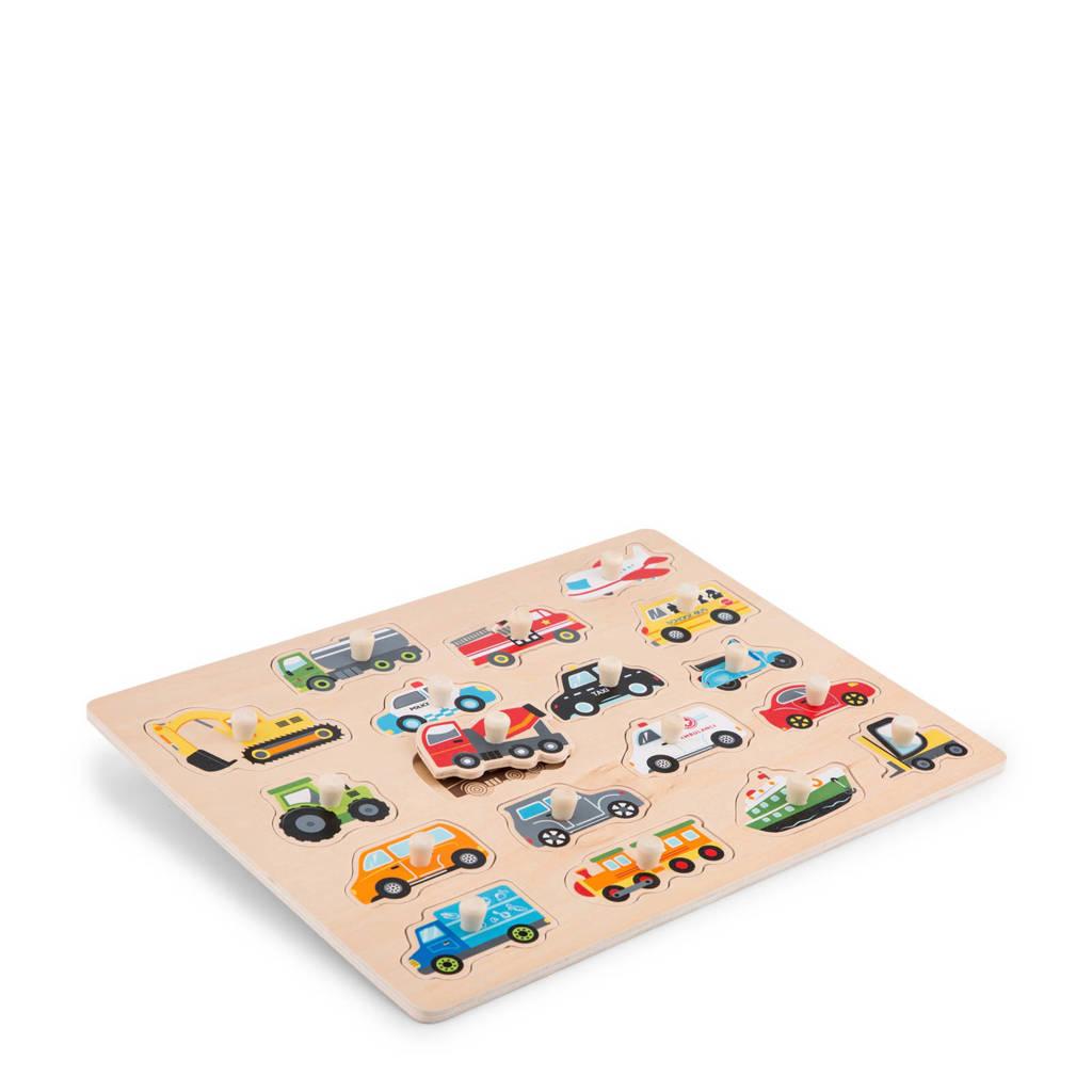 New Classic Toys voertuigen houten vormenpuzzel 18 stukjes