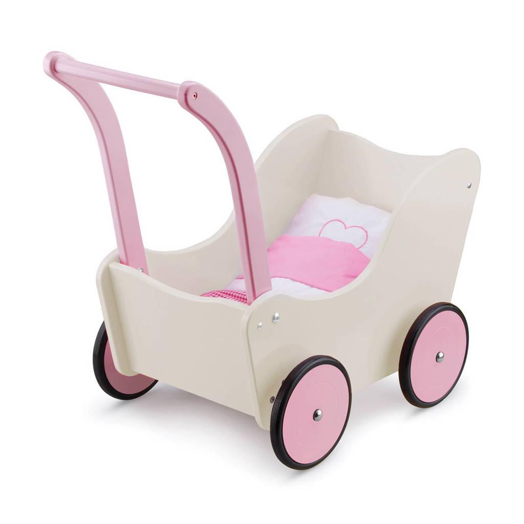 New Classic Toys poppenwagen met beddengoed crème