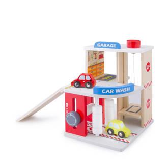 houten garage met carwash en 2 auto's