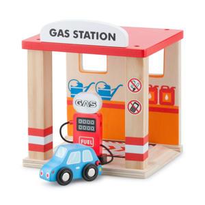 houten tankstation met auto
