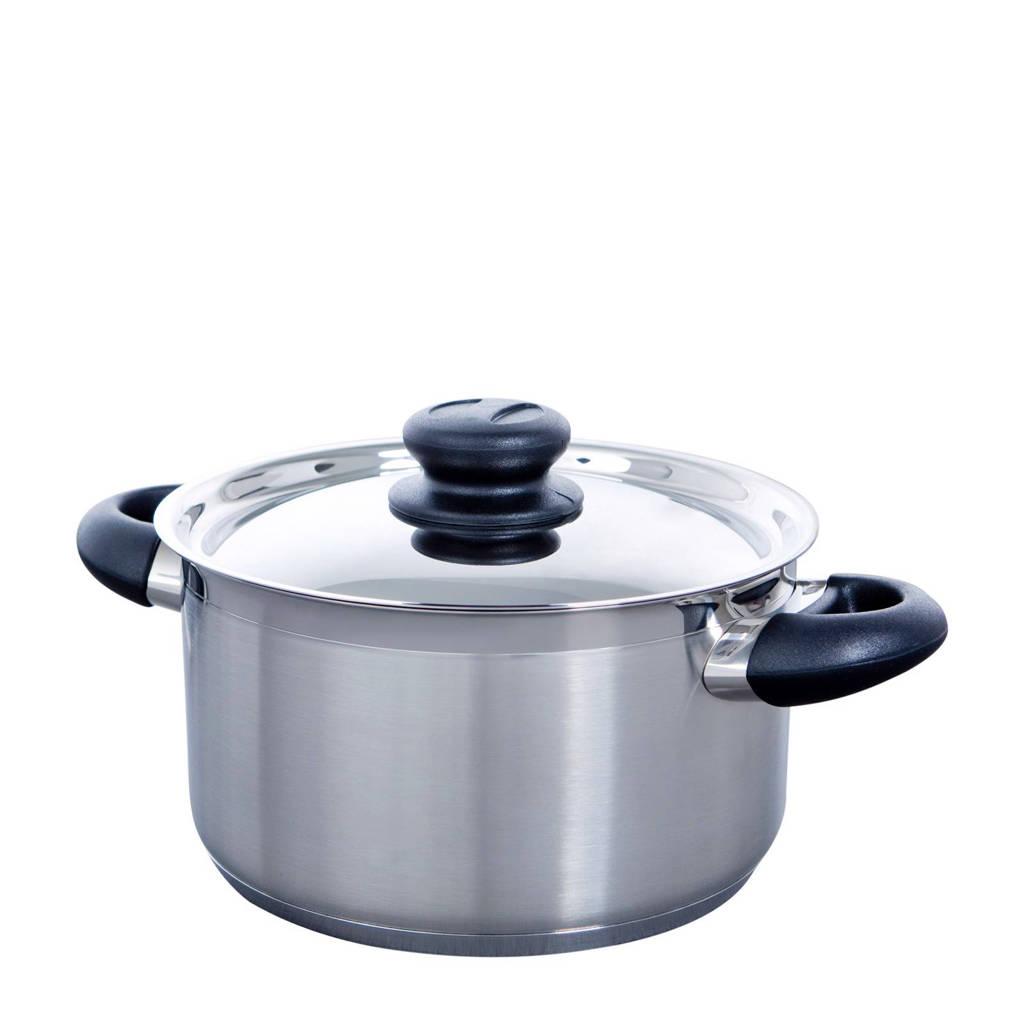 BK Karaat+ kookpan, 16 cm -2.1 liter, rvs/zilverkleur