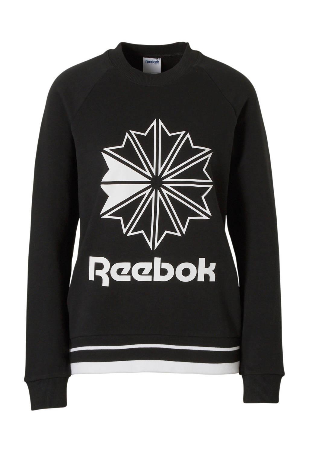 Reebok Classics sweater met print zwart, Zwart