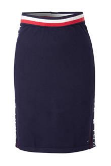 fijngebreide rok met zijstreep donkerblauw