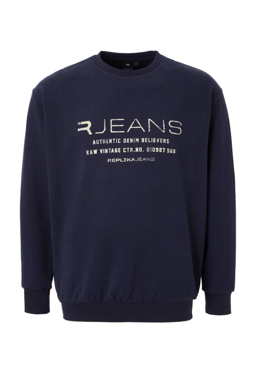 Replika +size sweater, Marineblauw