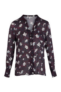 Morgan blouse met bloemen marineblauw (dames)