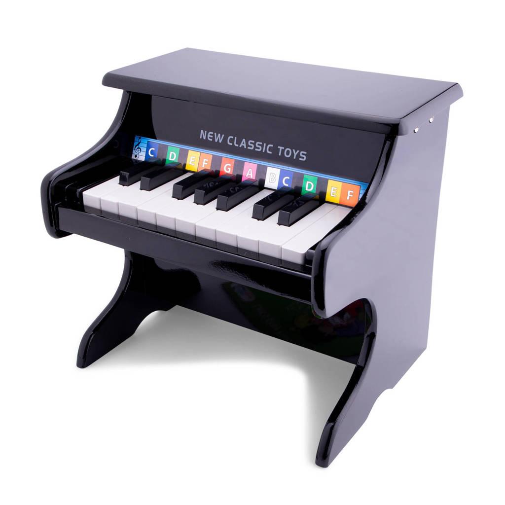 New Classic Toys houten zwarte piano 18 toetsen zwart, Zwart
