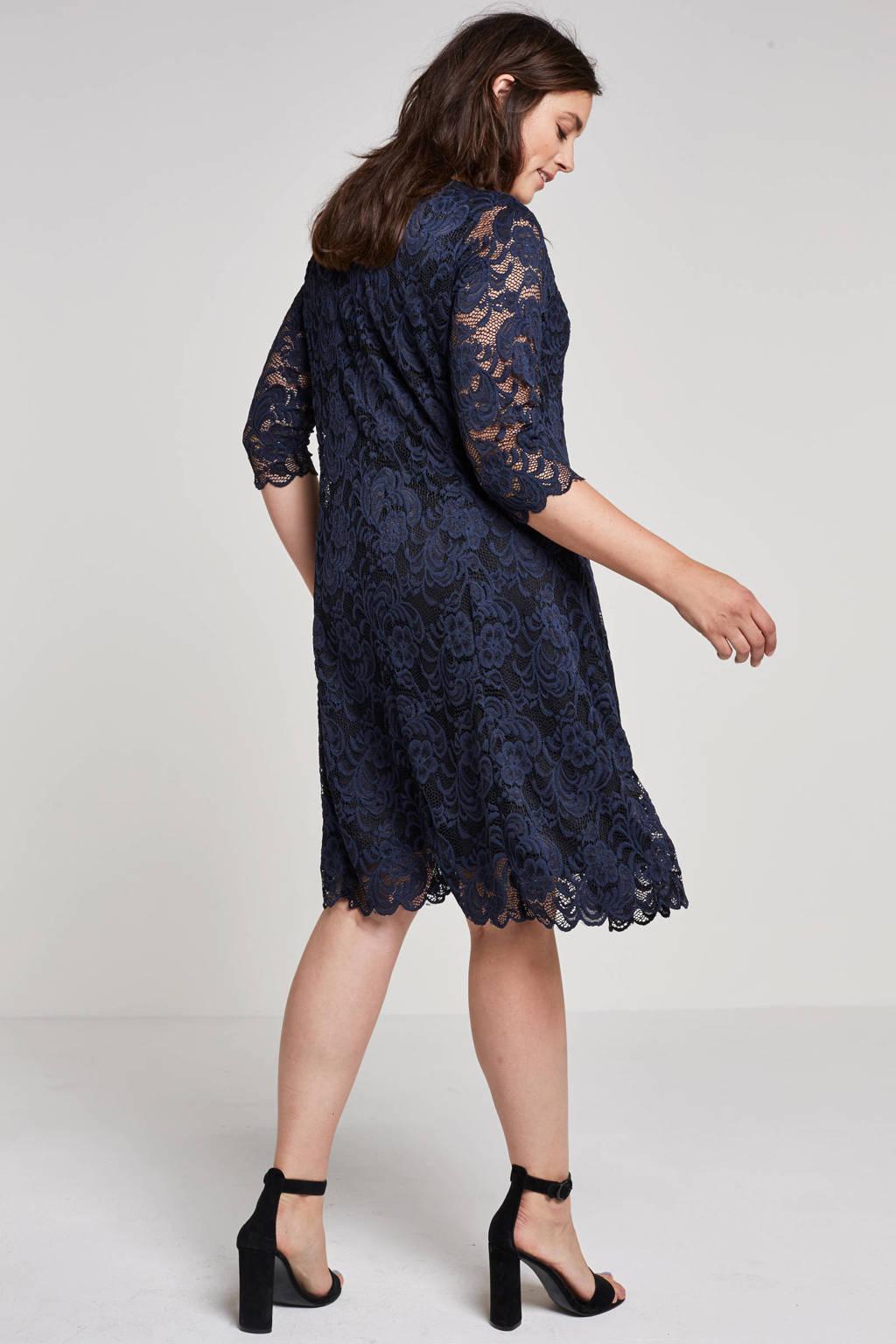 JUNAROSE kanten jurk, Donkerblauw