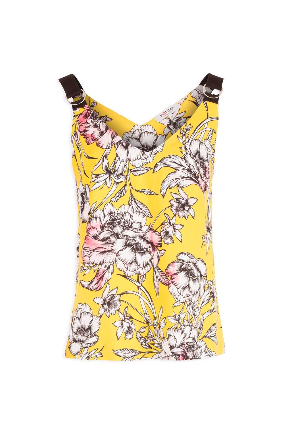 Morgan top met bloemen geel, Geel/wit