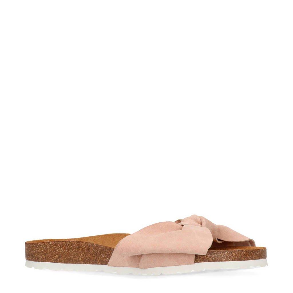 Manfield suède slippers met strik lichtroze, Lichtroze