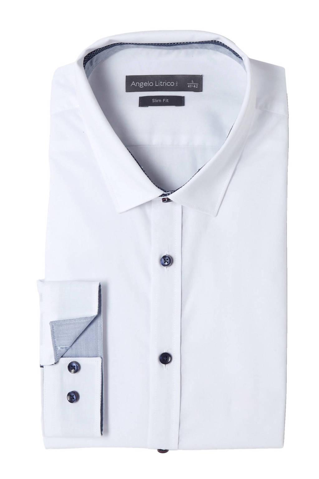 Overhemd Wit Slim Fit.C A Angelo Litrico Slim Fit Overhemd Wit Wehkamp
