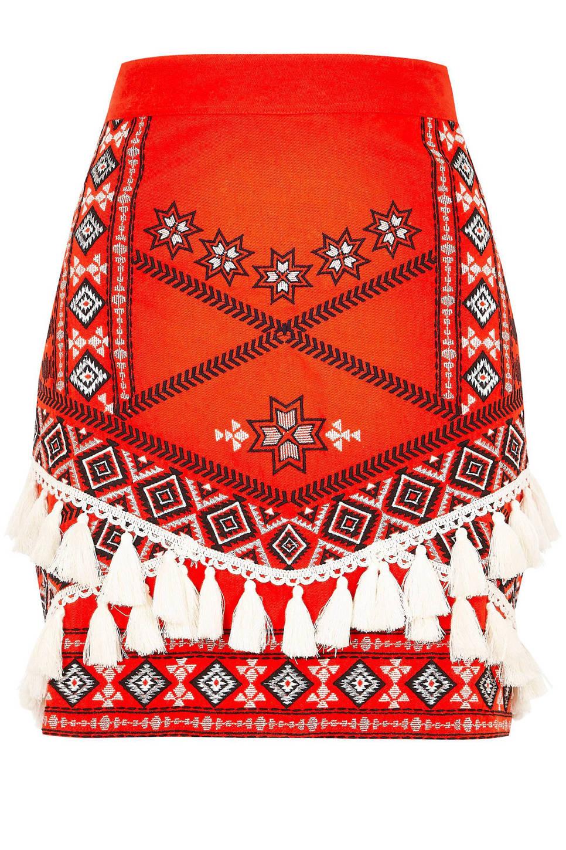 River Island rok met borduursels en kwastjes, Rood/zwart/wit