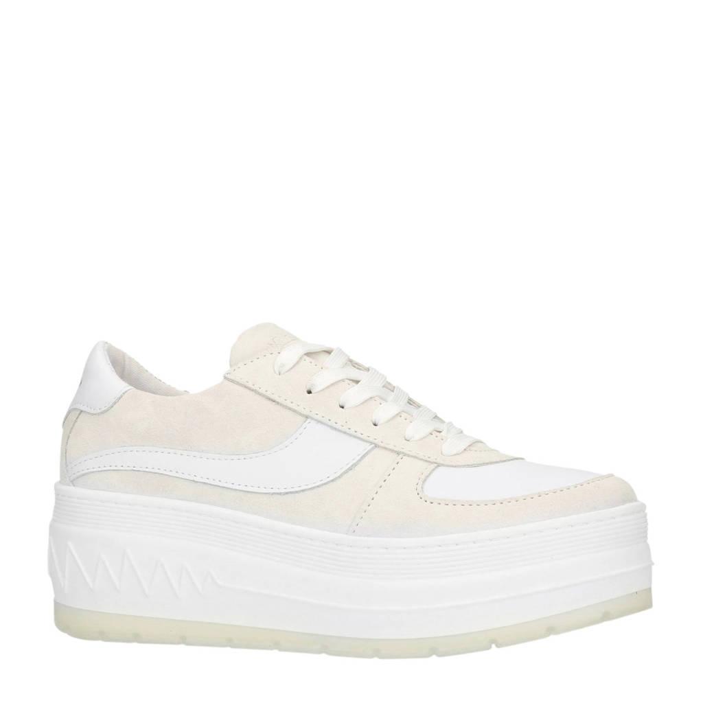 Sacha  suède sneakers met streep lichtroze, Lichtroze/wit