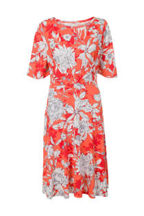 Steps jurk met bloemen koraalrood