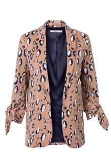 oversized blazer met panterprint bruin
