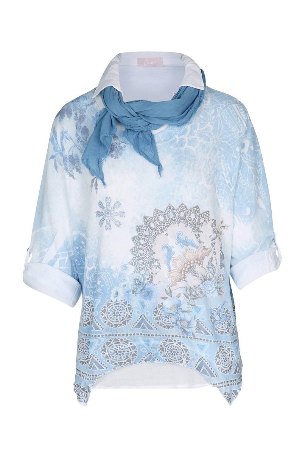Cassis trui jersey met blouse detail, Blauw/wit
