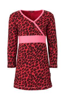 jurk met panterprint rood