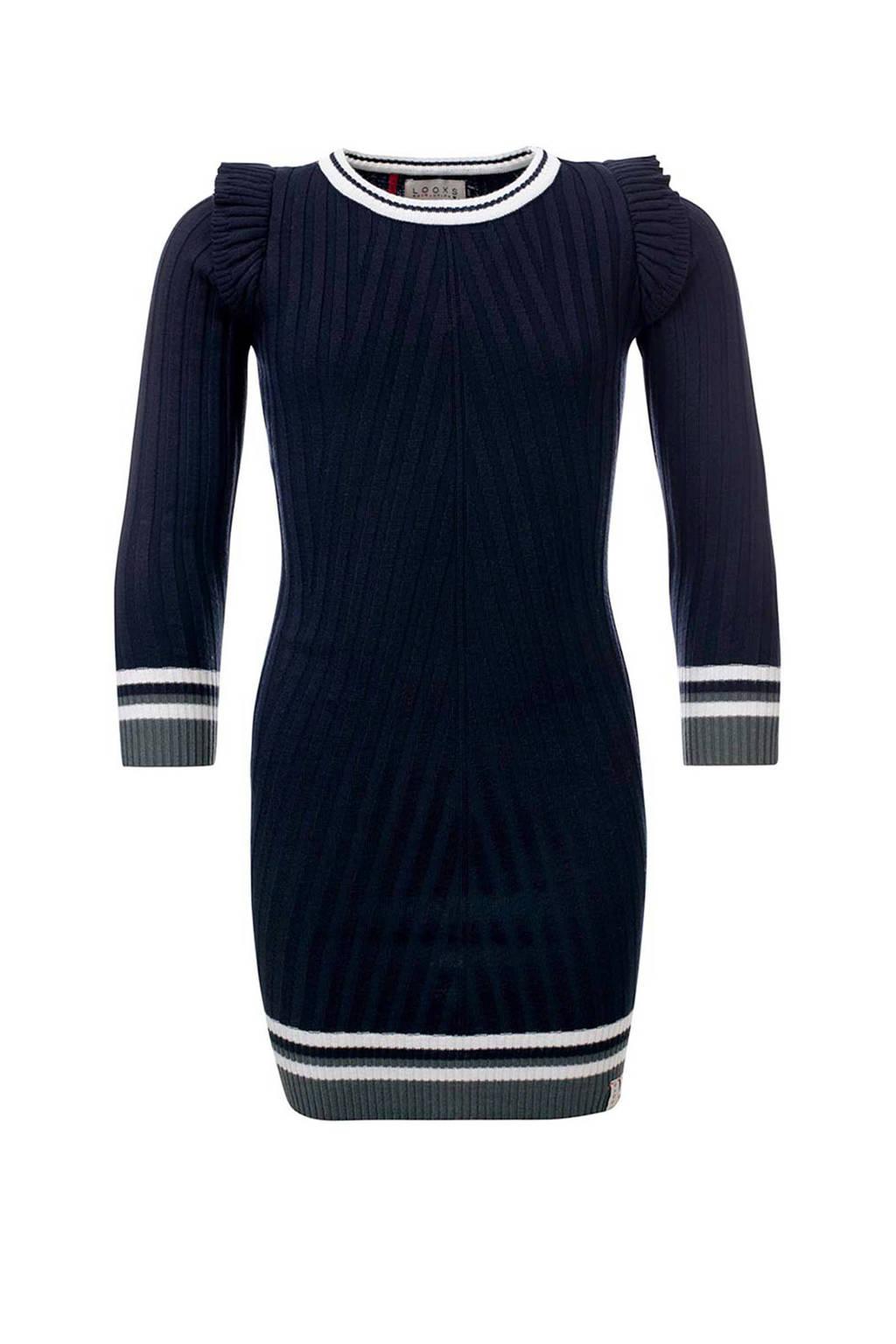 LOOXS gebreide jurk met ruches blauw, Marine
