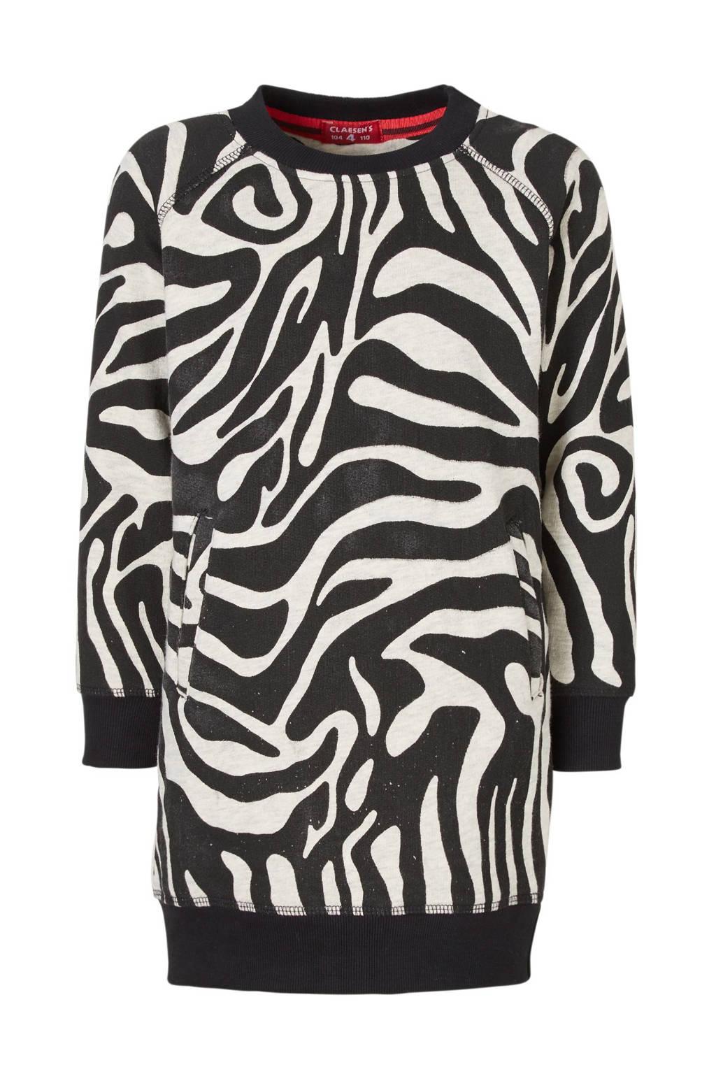 Claesen's sweatjurk met zebraprint, Zwart/grijs