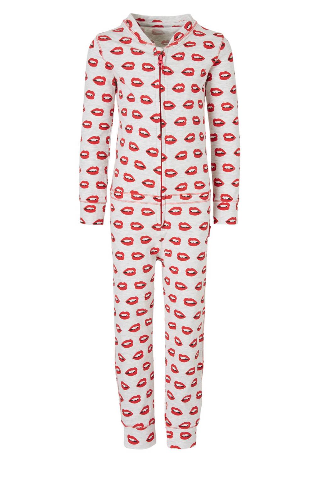 Claesen's onesie met all over print grijs, Grijs/rood