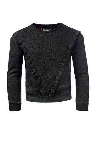 glitter sweater met volant zwart