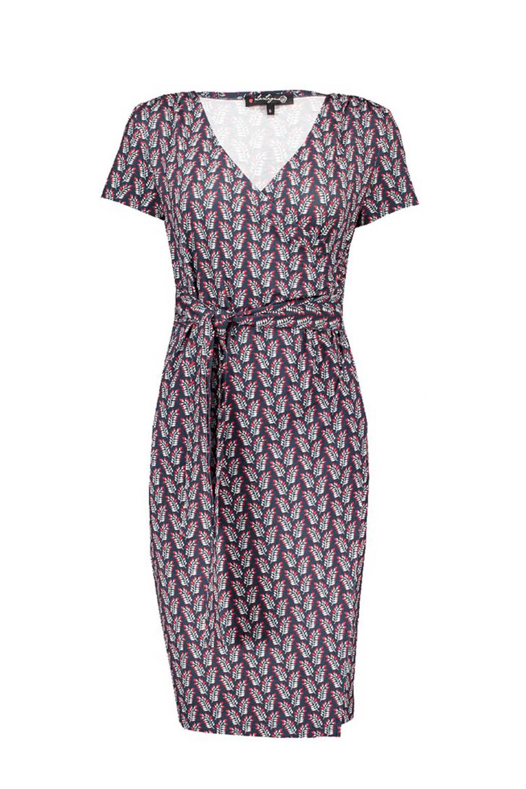La Ligna overslag jurk, Donkerblauw/rood/wit