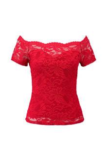 kanten off shoulder top rood