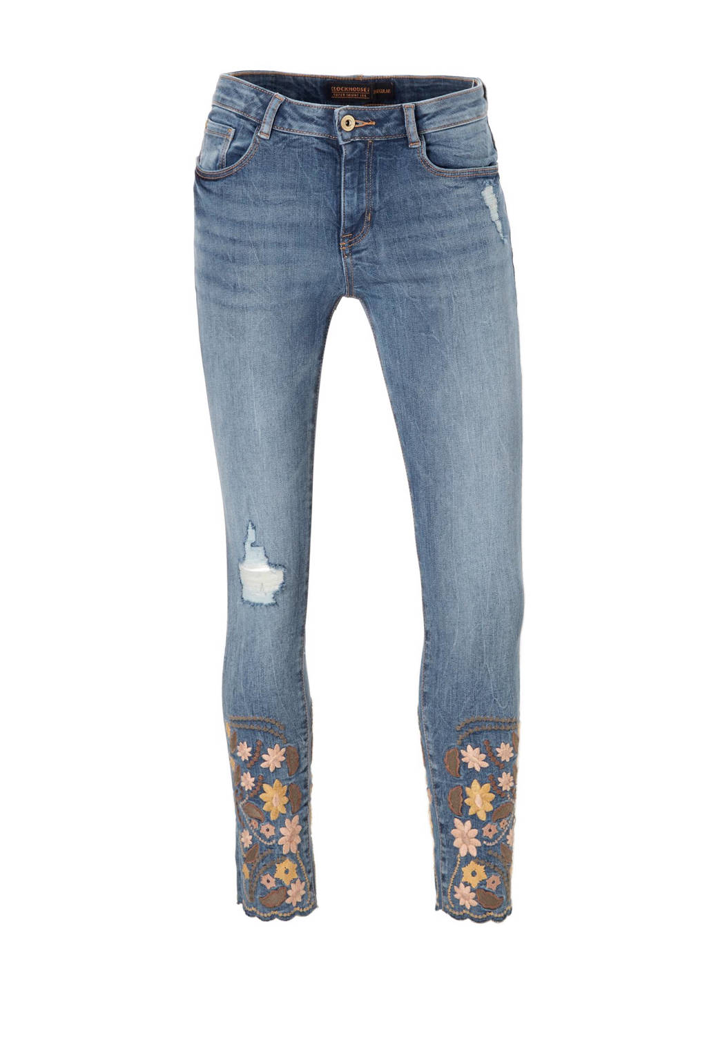 C&A Clockhouse cropped skinny fit jeans met borduursel, Stonewashed