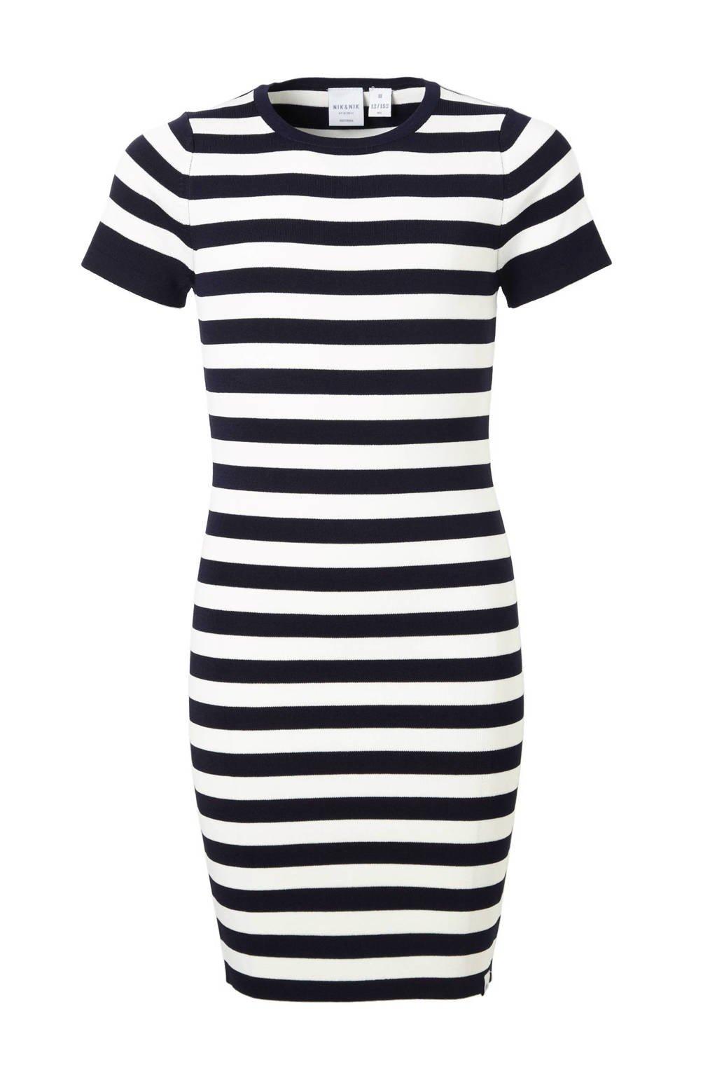 NIK&NIK jurk Jolie d.blauw/offwhite, Donkerblauw/offwhite
